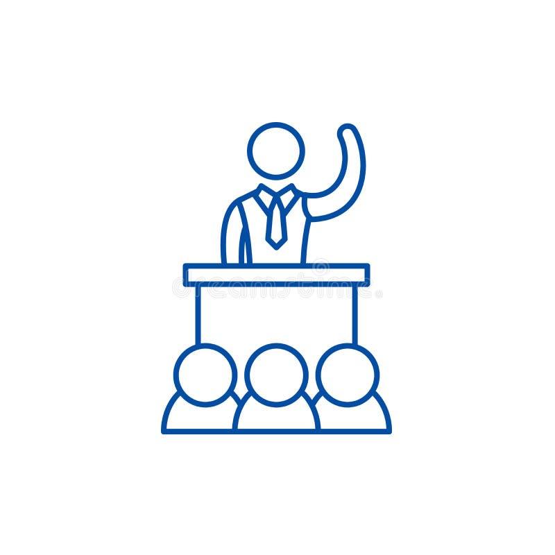Politische Leistungslinie Ikonenkonzept Flaches Vektorsymbol der politischen Leistung, Zeichen, Entwurfsillustration vektor abbildung