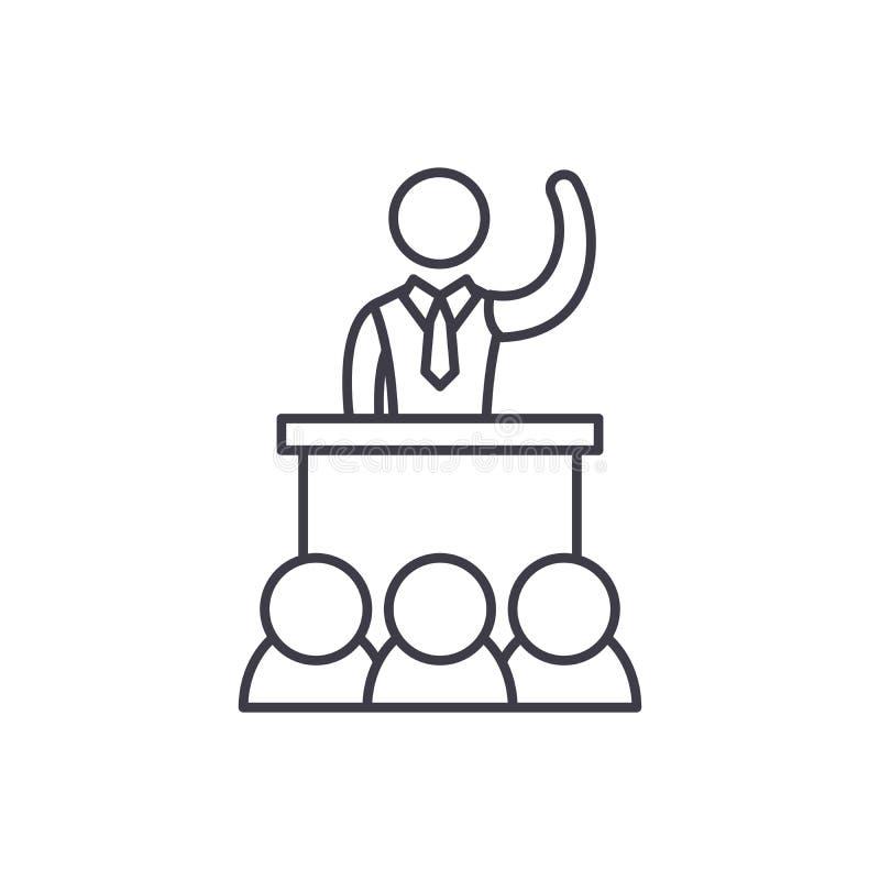 Politische Leistungslinie Ikonenkonzept Lineare Illustration des politischen Leistungsvektors, Symbol, Zeichen stock abbildung