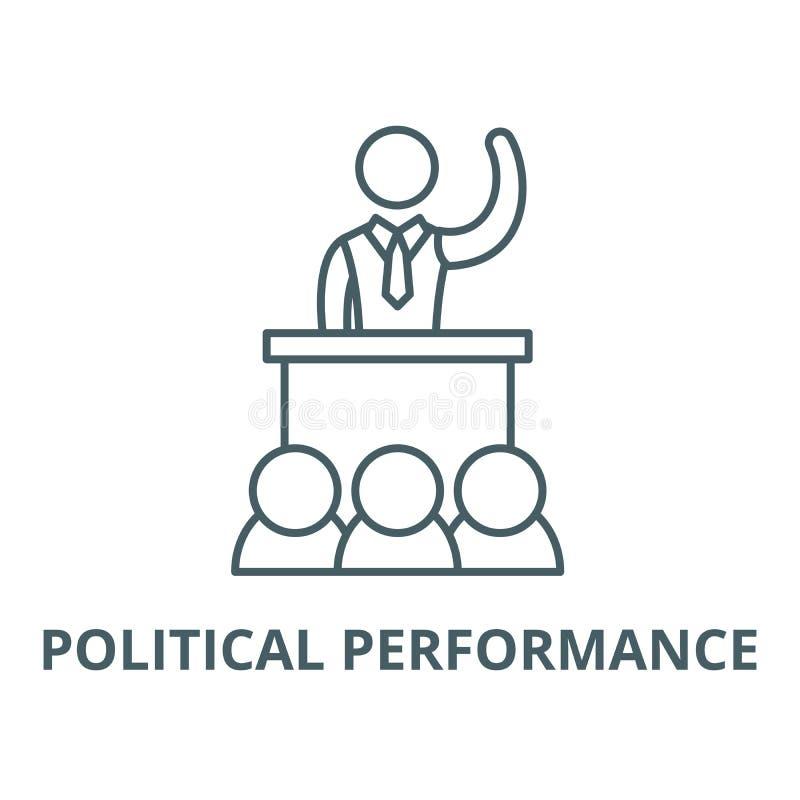 Politische Leistungsvektorlinie Ikone, lineares Konzept, Entwurfszeichen, Symbol lizenzfreie abbildung