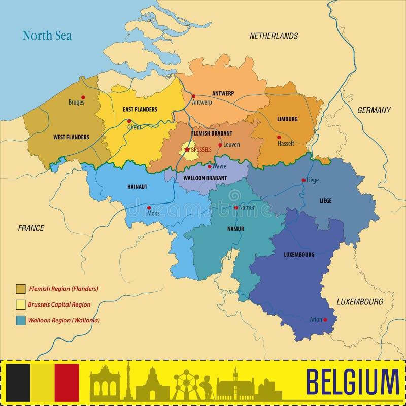 Politische Vektorkarte Belgiens mit Regionen stock abbildung