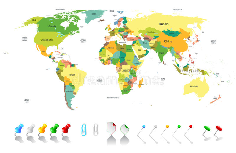 Politische Weltkarte stock abbildung