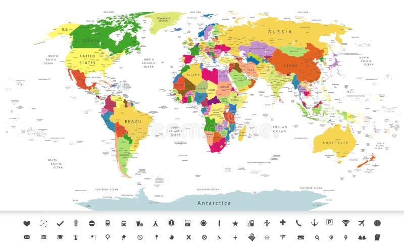 Politische Weltkarte mit Navigationsikonen lizenzfreie abbildung