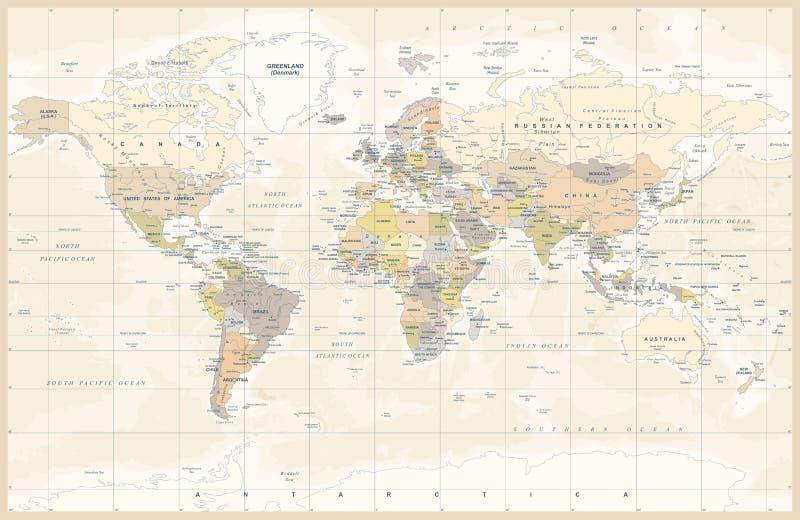 Politischer farbiger Weinlese-Weltkarte-Vektor vektor abbildung