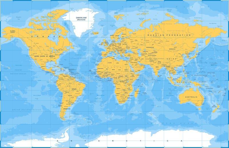 Politischer farbiger Weltkarte-Vektor vektor abbildung