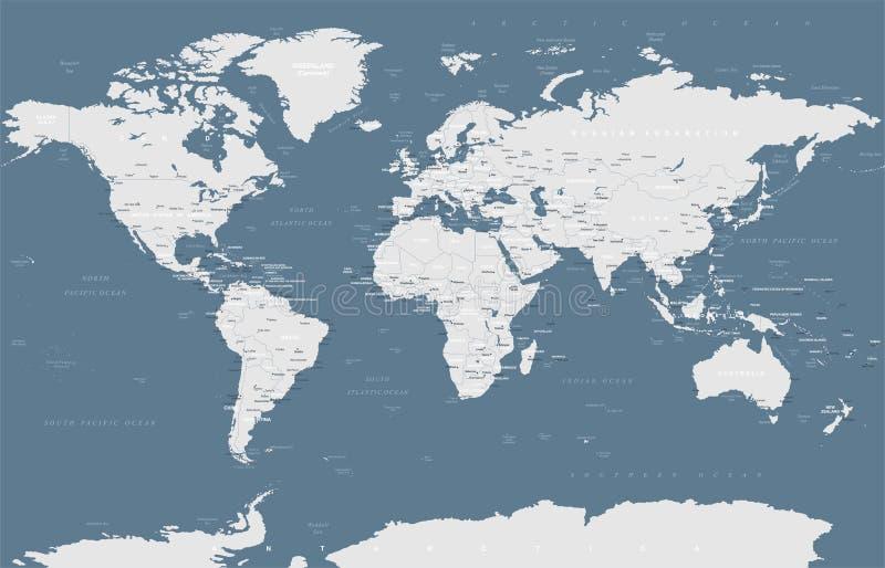 Politischer Grayscale-Weltkarte-Vektor lizenzfreie abbildung