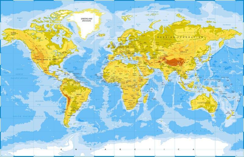 Politischer körperlicher topographischer farbiger Weltkarte-Vektor stock abbildung