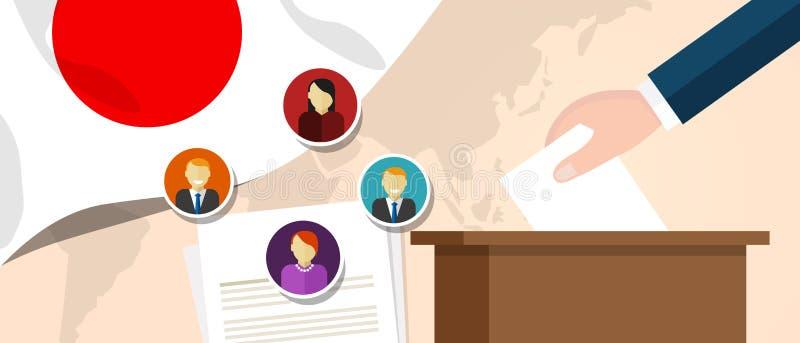 Politischer Prozess Japan-Demokratie, der Präsidenten oder Parlamentsmitglied mit Wahl- und Referendumfreiheit zur Abstimmung vor vektor abbildung