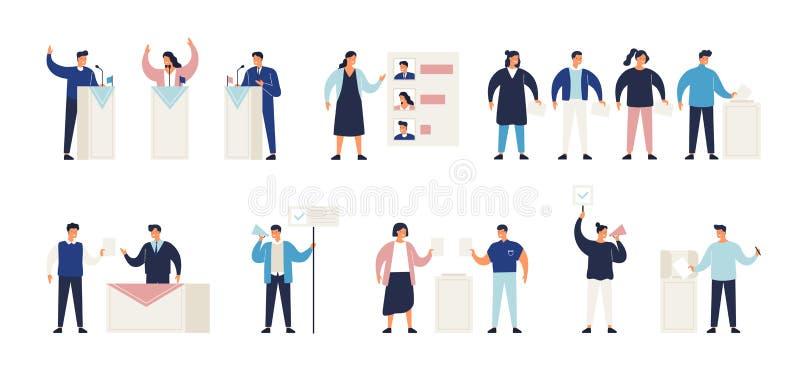 Politischer Wahlprozesssatz Bündel Leute, die Stimmzettel in Kasten am Wahllokal, Kandidaten oder die Abstimmung wählend einsetze vektor abbildung