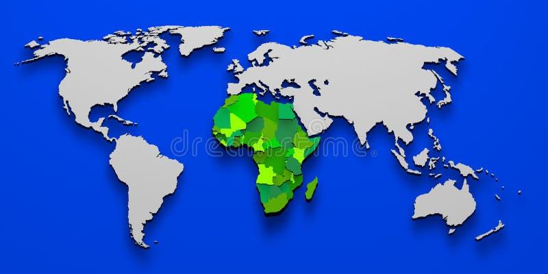 Politisk översikt av Afrika 3D vektor illustrationer