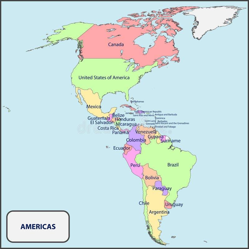 Politisk översikt av Americasna med namn vektor illustrationer
