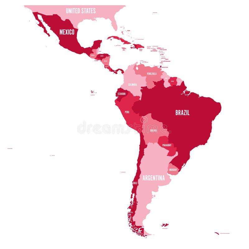 Politisk översikt av Latinamerika Enkel plan vektoröversikt med etiketter för landsnamn i fyra skuggor av rödbrunt royaltyfri illustrationer