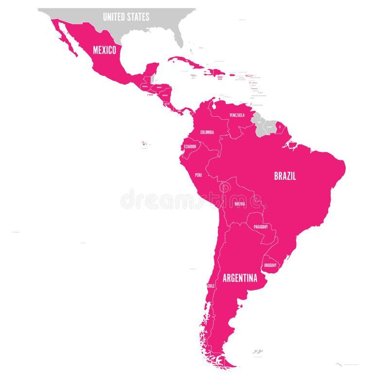 Politisk översikt av Latinamerika Latin - rosa färg för amerikanska stater som markeras i översikten av Sydamerika, Central Ameri stock illustrationer