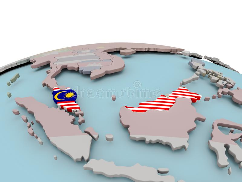 Politisk översikt av Malaysia på jordklotet med flaggan royaltyfri illustrationer