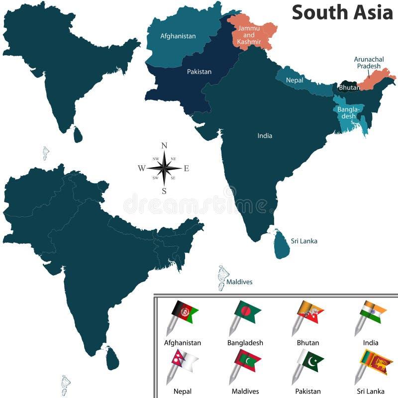 Politisk översikt av South Asia royaltyfri illustrationer
