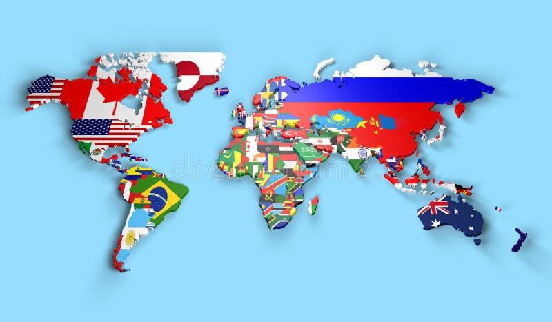 Politisk översikt av världen royaltyfri illustrationer