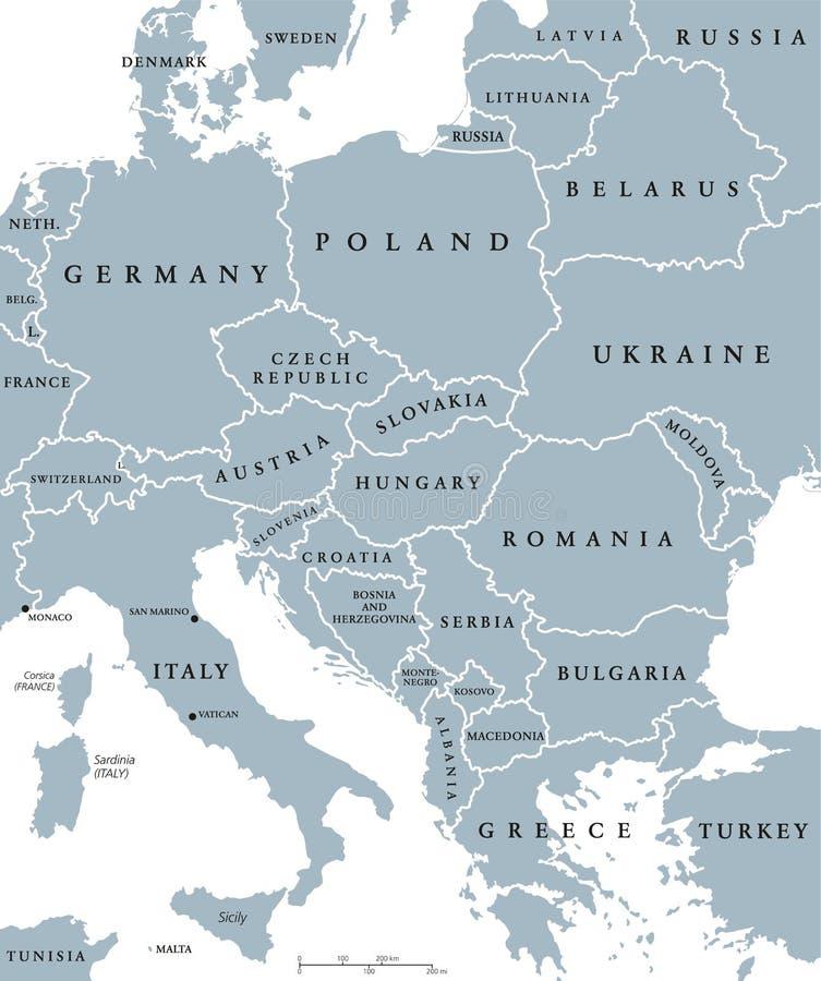 Politisk översikt för Centraleuropa länder royaltyfri illustrationer