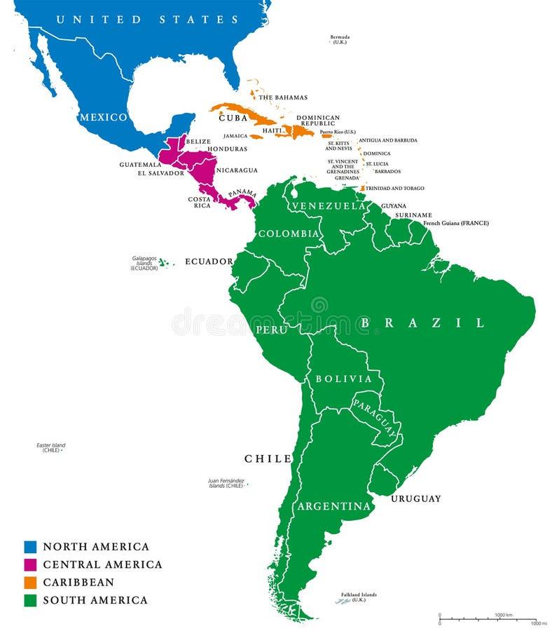 Politisk översikt för Latinamerikaregioner stock illustrationer