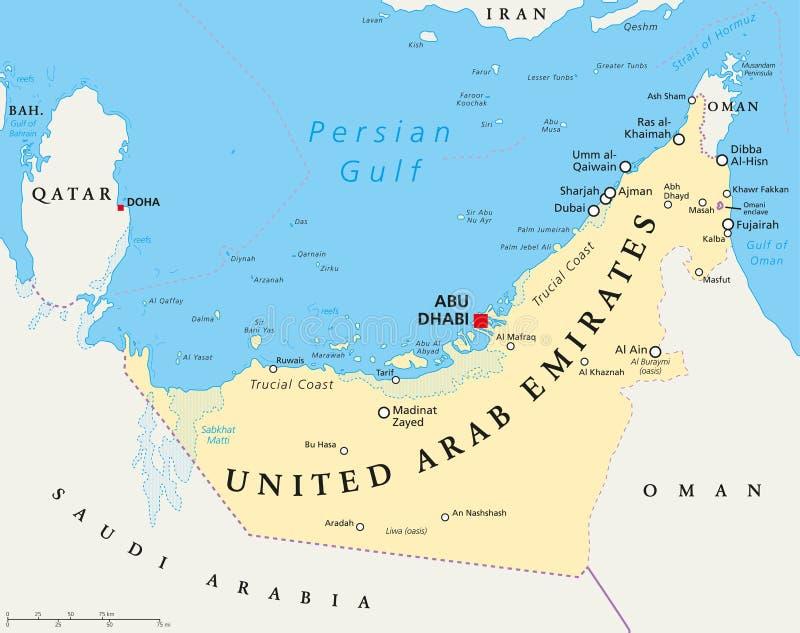 förenade arabemiraten karta Politisk översikt För UAE Förenade Arabemiraten Vektor  förenade arabemiraten karta