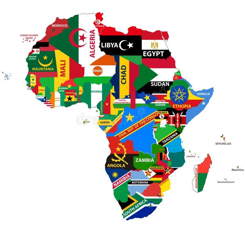 Politisk översikt för vektor av Afrika med alla landsflaggor stock illustrationer