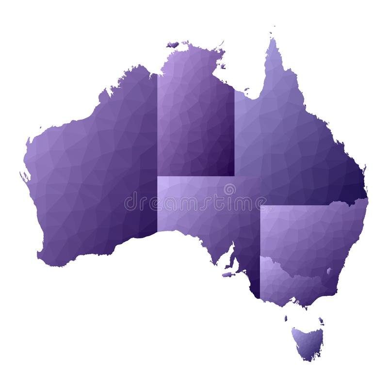 politisk Australien kontinental ?versikt royaltyfri illustrationer