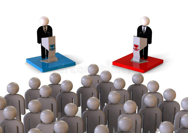 Politisk debatt framme av ett folkmassabegrepp vektor illustrationer