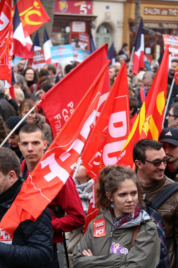 Politisk demonstration i Frankrike arkivbild