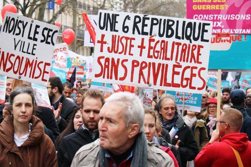 Politisk demonstration i Frankrike royaltyfri foto