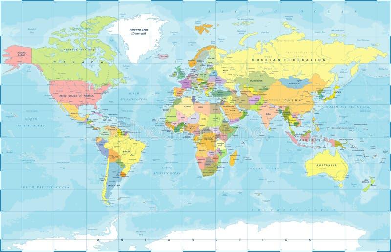 Politisk kulör världskartavektor royaltyfri illustrationer