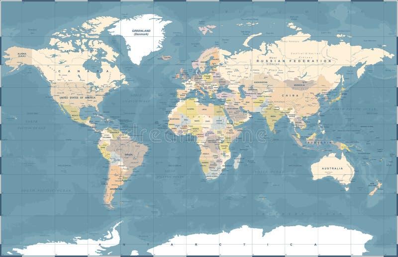 Politisk kulör världskartavektor stock illustrationer