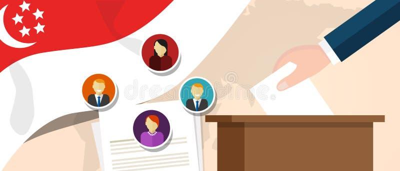 Politisk process för Singapore demokrati som väljer president- eller parlamentmedlemmen med val- och folkomröstningfrihet till stock illustrationer
