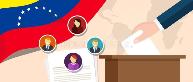Politisk process för Venezuela demokrati som väljer president- eller parlamentmedlemmen med val- och folkomröstningfrihet till stock illustrationer