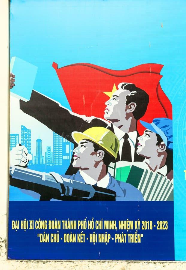 Politisk propagandaaffisch i Ho Chi Minh, Vietnam arkivbilder