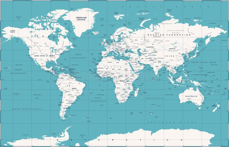 Politisk tappningvärldskartavektor vektor illustrationer