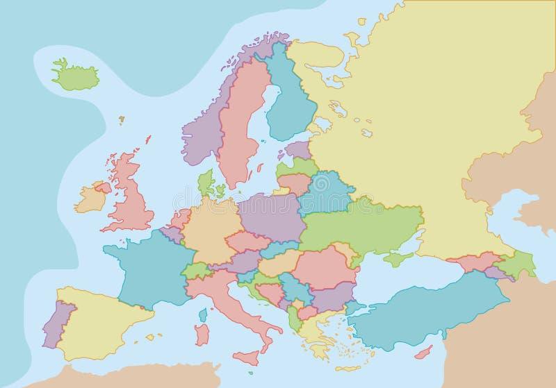 Politisk tom översikt av Europa med färger och gränser för varje land stock illustrationer