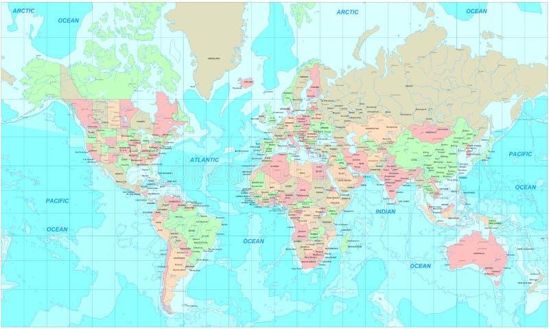 politisk värld för översikt royaltyfri bild