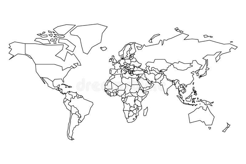 politisk värld för översikt Tom översikt för skolafrågesport Förenklad svart tjock översikt på vit bakgrund royaltyfri illustrationer