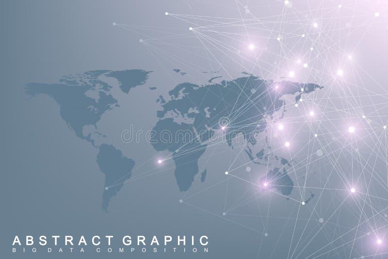 Politisk världskarta med globalt teknologinätverkandebegrepp Visualization för Digitala data Fodrar plexusen Stora data royaltyfri illustrationer