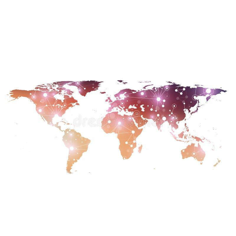 Politisk världskarta med globalt teknologinätverkandebegrepp Visualization för Digitala data Fodrar plexusen Stora data stock illustrationer