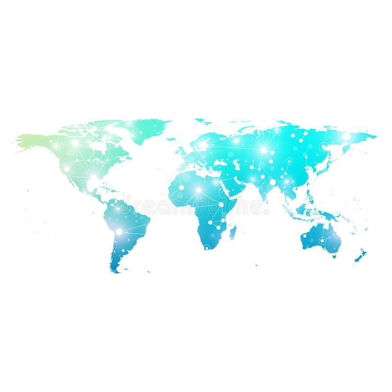 Politisk världskarta med globalt teknologinätverkandebegrepp Visualization för Digitala data Fodrar plexusen Stora data fotografering för bildbyråer
