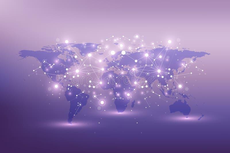 Politisk världskarta med globalt teknologinätverkandebegrepp Visualization för Digitala data Fodrar plexusen Stora data vektor illustrationer