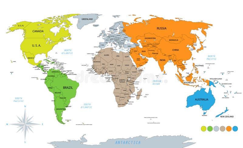 Politisk världskarta på vit bakgrund stock illustrationer