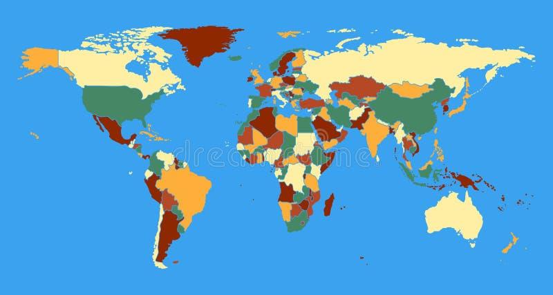 Politisk världskartavektorillustration  vektor illustrationer