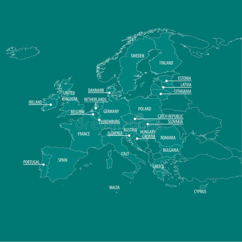 Politiska Europa kartlägger royaltyfri illustrationer