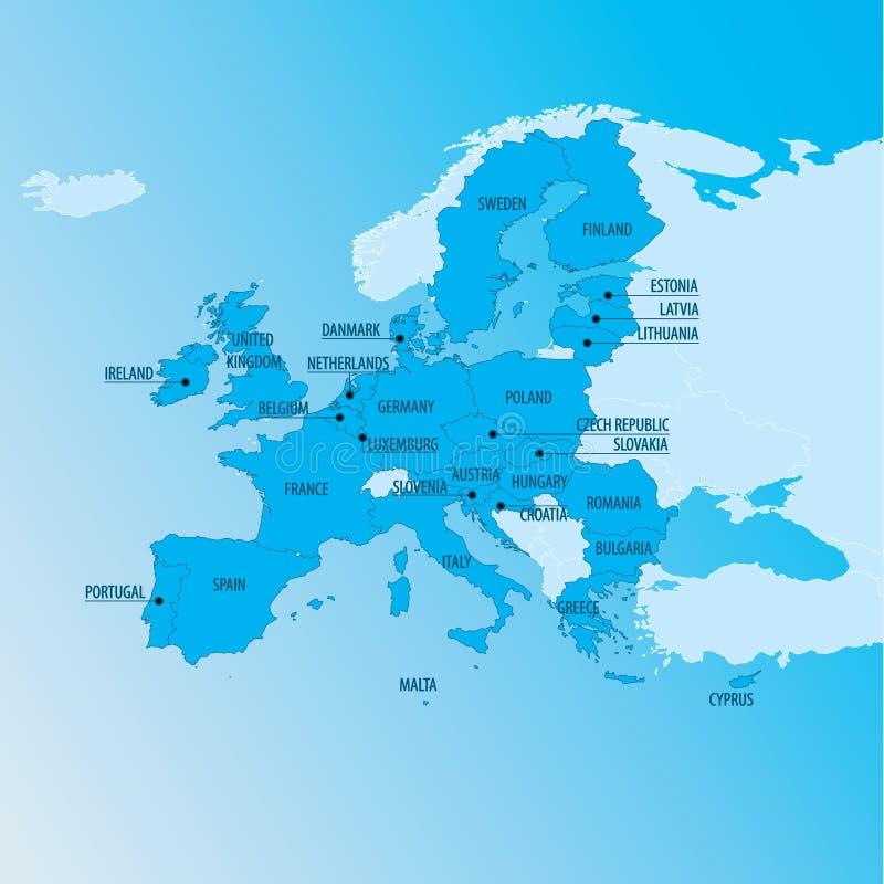 Politiska Europa kartlägger stock illustrationer