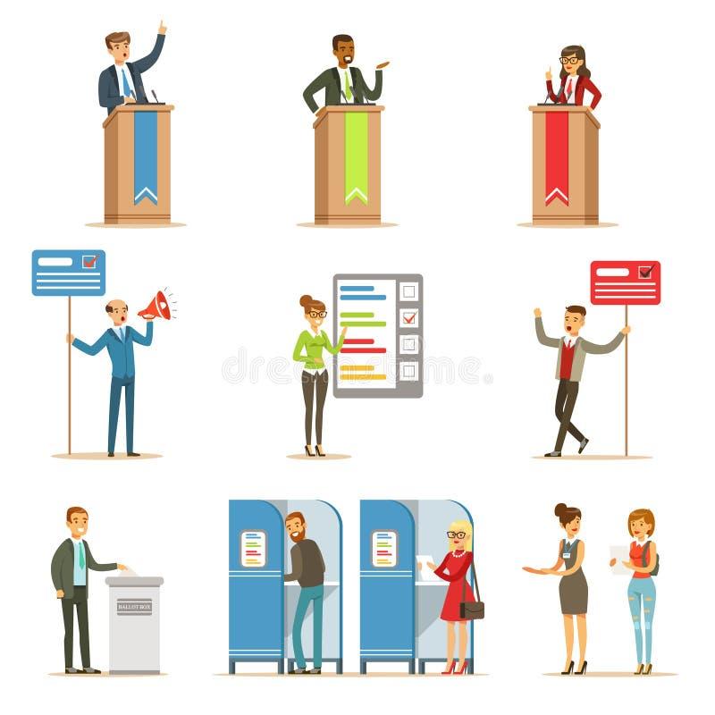 Politiska kandidater och röstningprocessuppsättning av Themed illustrationer för demokratiska val royaltyfri illustrationer