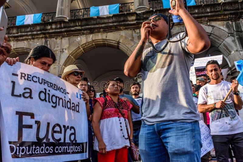 Politiska protester, Antigua, Guatemala royaltyfria bilder