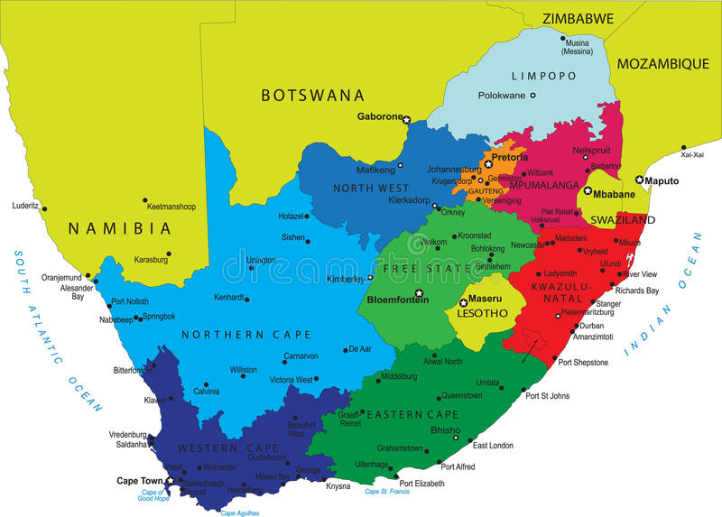 politiska söder för africa översikt royaltyfri illustrationer