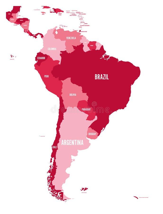 politiska söder för Amerika översikt Enkel plan vektoröversikt med etiketter för landsnamn i fyra skuggor av rödbrunt stock illustrationer