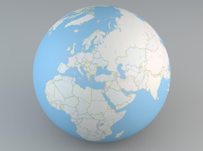 Politiskt översiktsjordklot av Europa, mellersta East Asia och Afrika vektor illustrationer