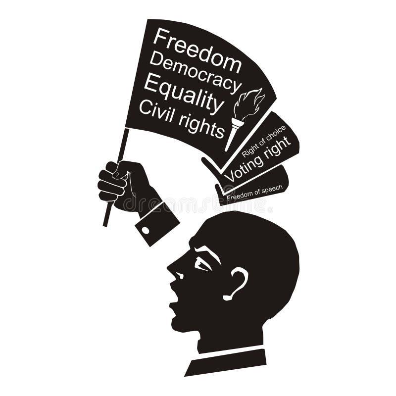 Politiskt anförande, högtalare med flaggan i handen, medborgerliga rättigheter royaltyfri illustrationer
